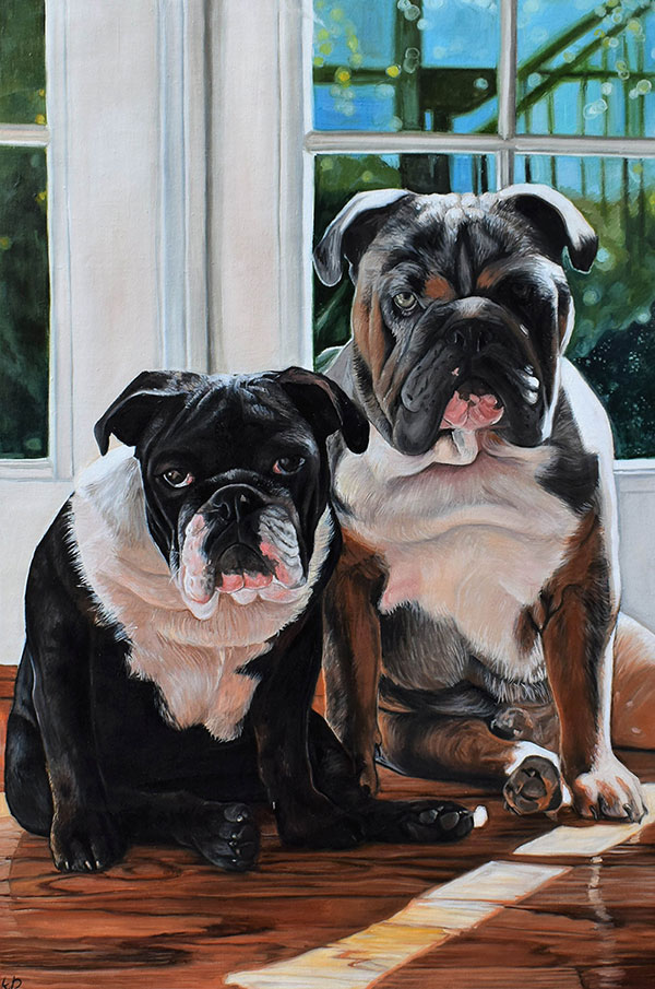 Beautiful oil painting of two Olde Bulldogges