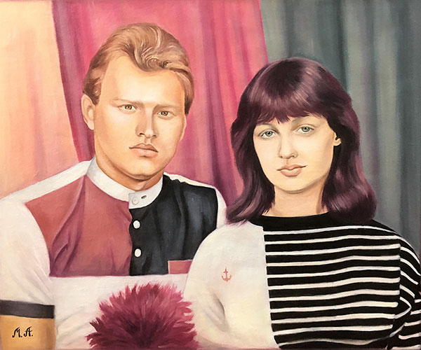 Vintage oil painting of a couple