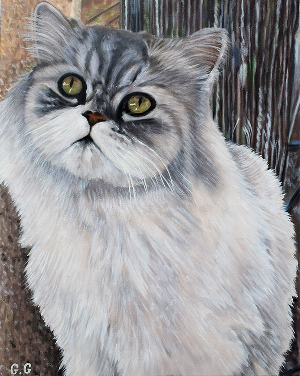 customized oil painting of cute long haired cat
