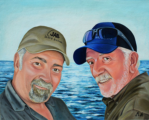 Oil painting of two man by the sea