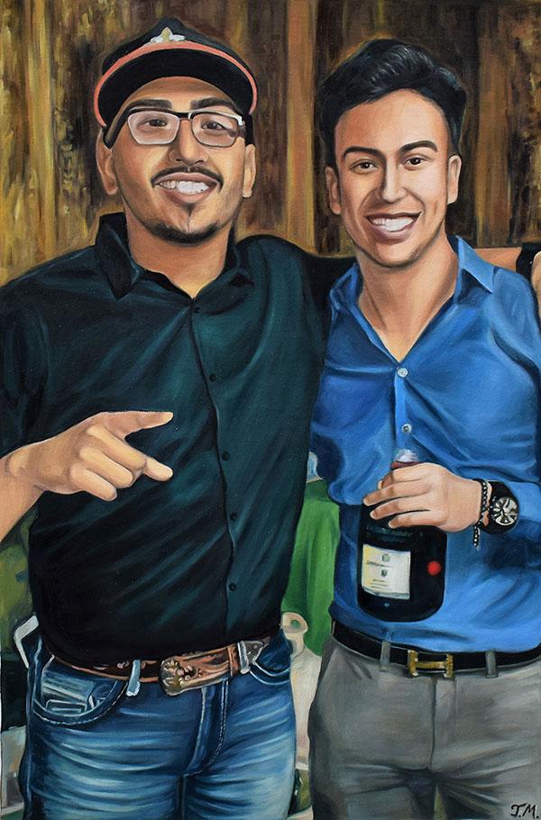 custom oil painting of friends