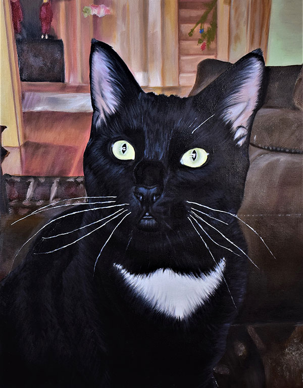 Oil painting of a black cat