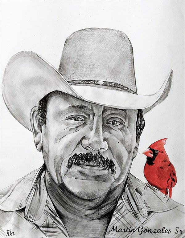 Custom color pencil drawing of a man with a parrot