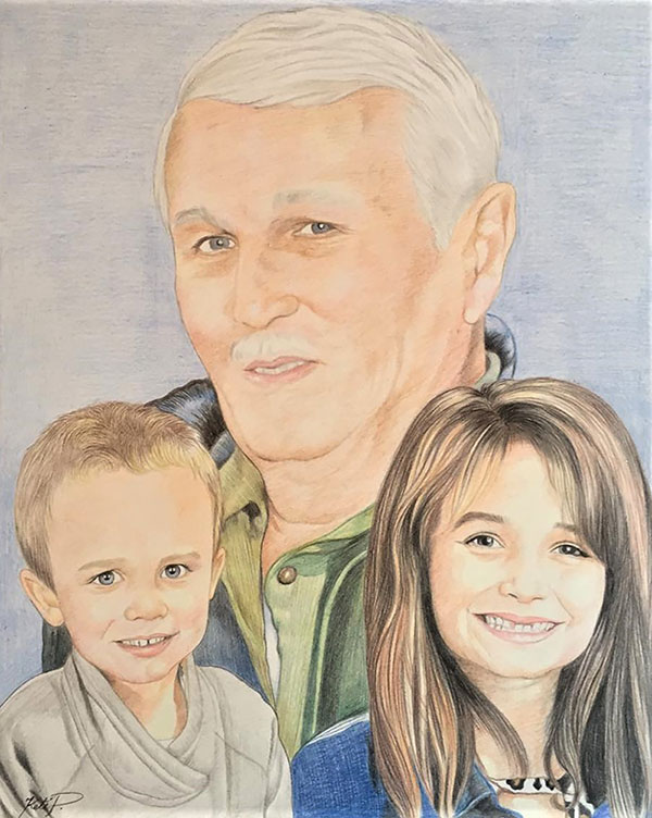 Personalized color pencil painting of a family