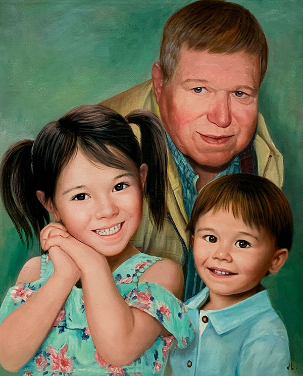 Personalized oil artwork of a father with two kids