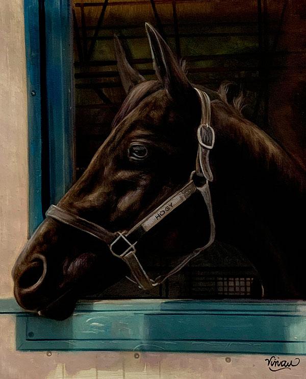 Custom oil artwork of a horse
