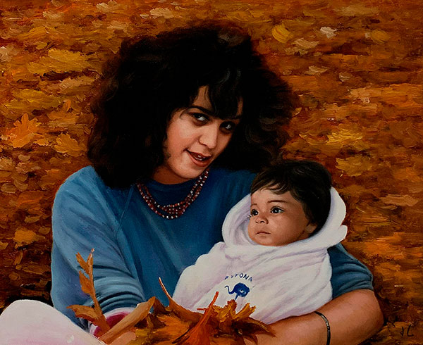 Gorgeous oil painting of a mother and a son