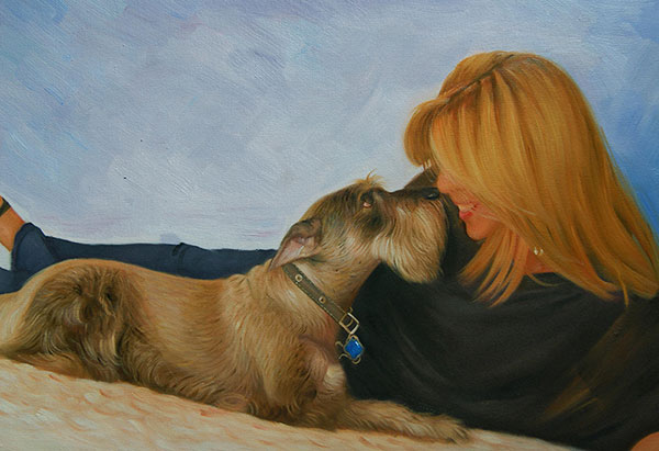 Custom oil portrait of a woman and her pet