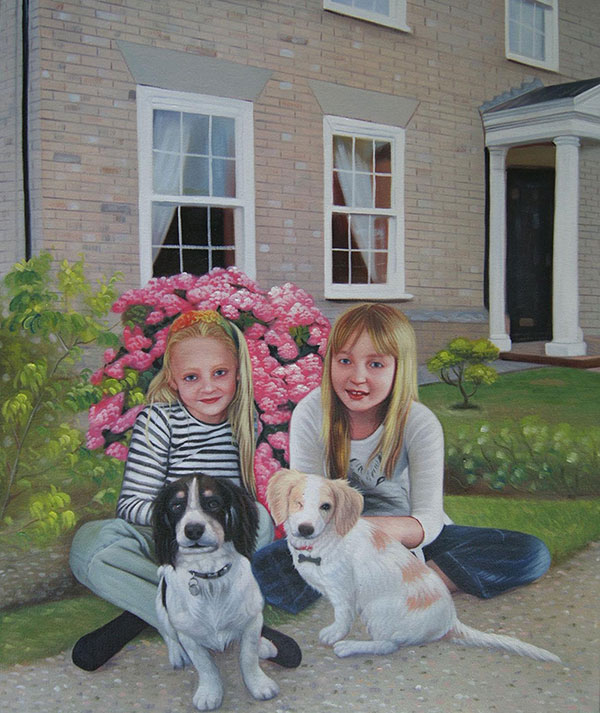 Handmade oil painting of sisters and little puppies