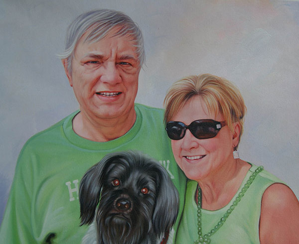 Handmade oil painting owners with black longhair dog
