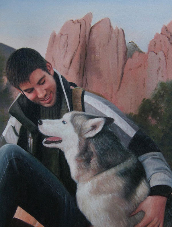 Handmade oil painting of a boy hugging his husky