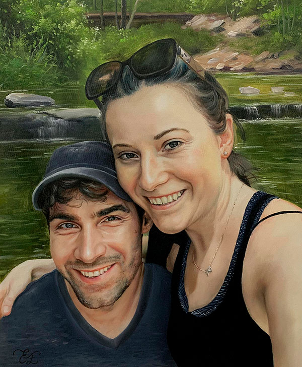 Gorgeous oil painting of a loving couple