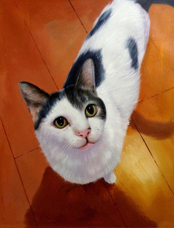 Custom oil handmade portrait of a black and white cat