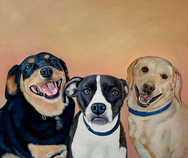 Beautiful oil painting of the three dogs