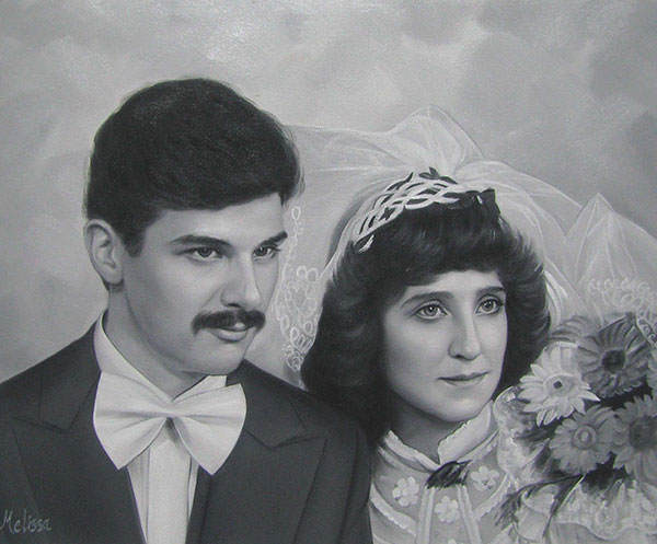 custom oil portrait of a couple