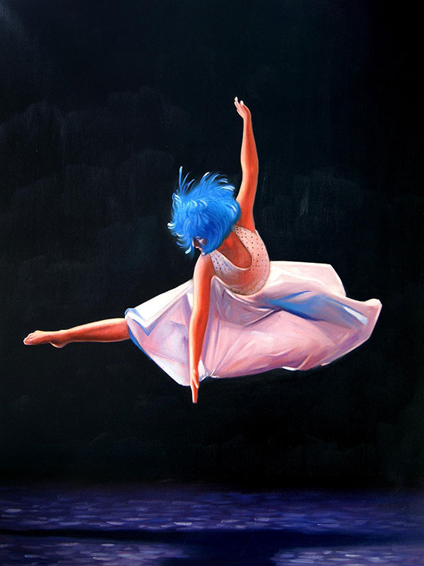 picture to oil painting of ballerina in mid air blue hair
