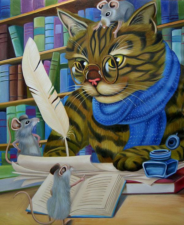 tableau de chat intellectuel