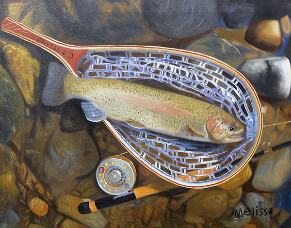 custom oil painting of a fishermans net of fish