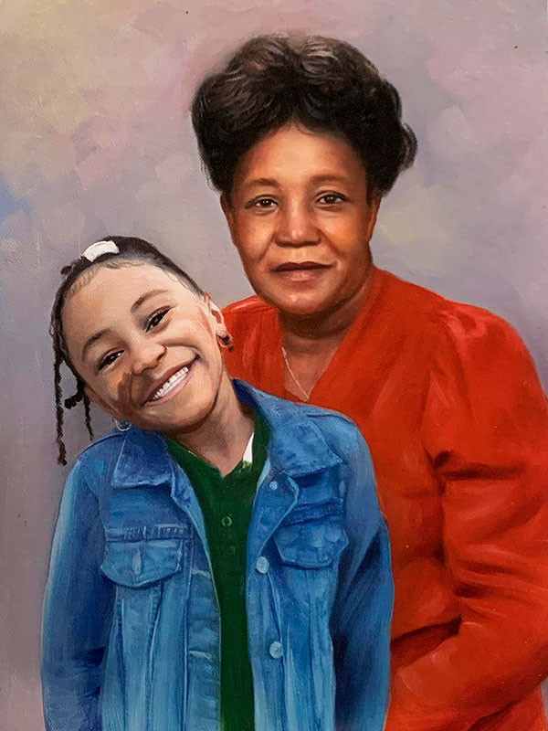 Beautiful acrylic artwork of a woman with a girl