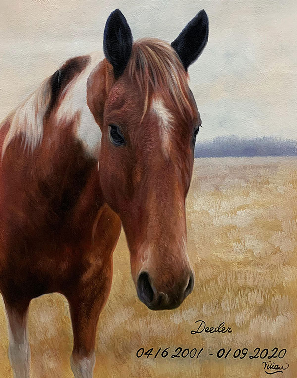 Hyper realistic oil painting of a horse