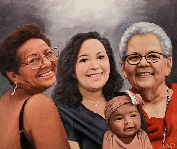 Personalized oil painting of the three women with a baby