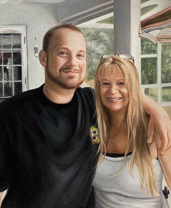 Custom oil artwork of a smiling couple