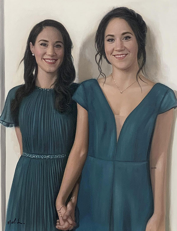 Oil painting of friends holding hands