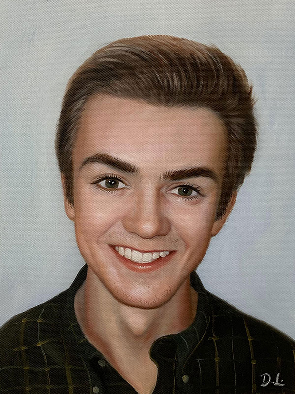 Hyper realistic oil painting of a boy