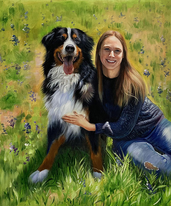 Stunning oil painting of a girl with a dog