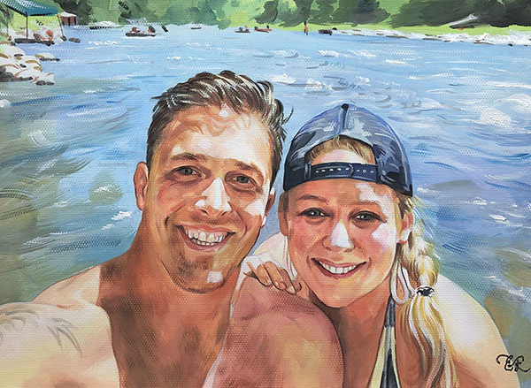Custom pastel painting of a couple by the river