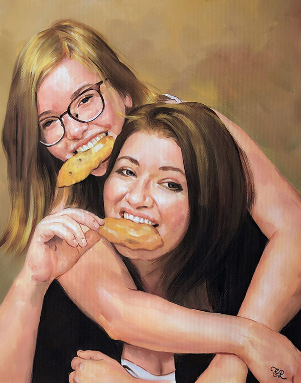 Beautiful pastel artwork of a mother and a daughter