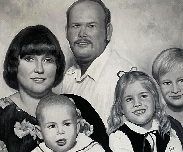 Black and white oil painting of a family