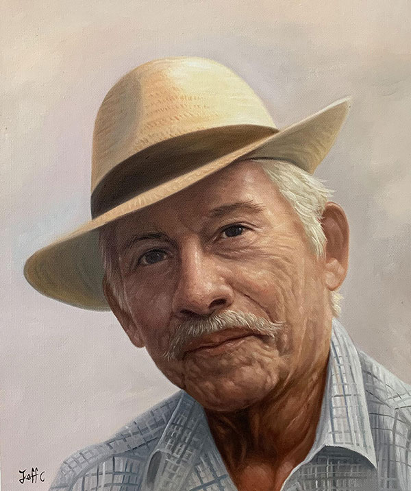 Custom oil painting of a man with a hat