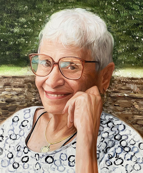 Personalized acrylic portrait of a woman with the glasses