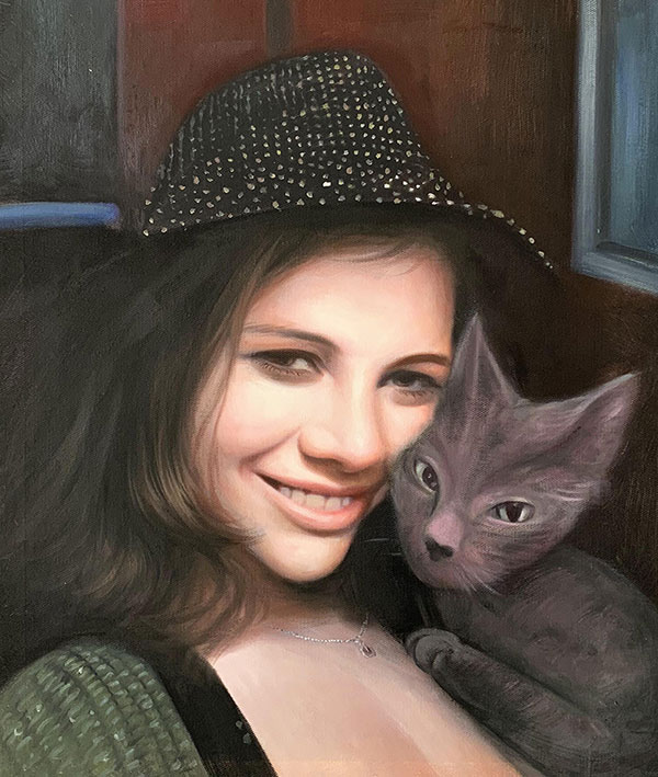 Beautiful acrylic painting of a girl with a cat