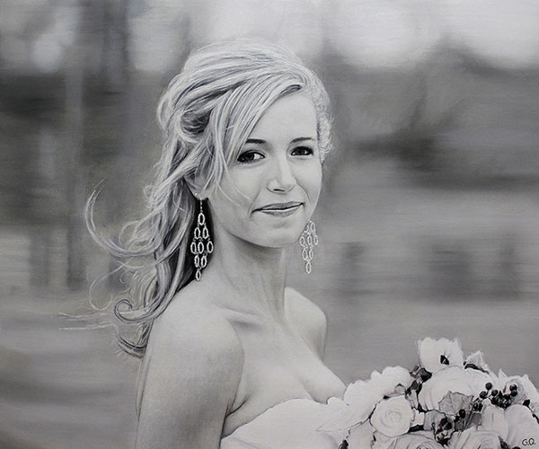 Personalized oil painting of a beautiful bride