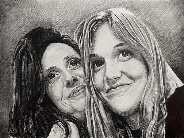 Custom black pencil painting of two women