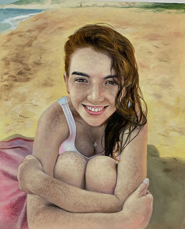 Beautiful oil artwork of a girl on the beach