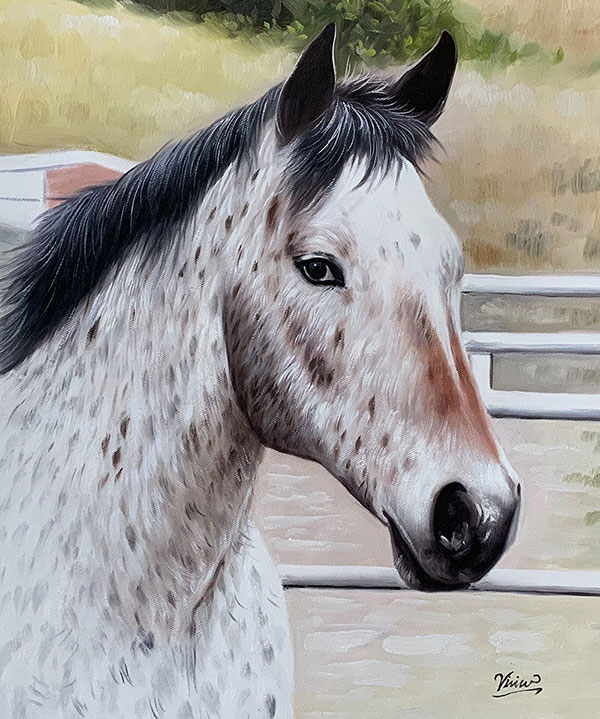 Close up hand drawn oil painting of a horse