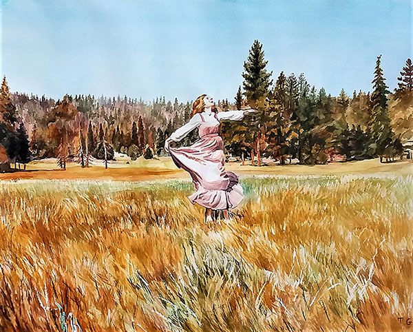Stunning watercolor painting of a girl in the nature