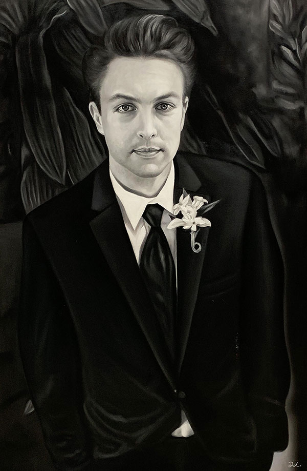 Beautiful oil painting of a groom