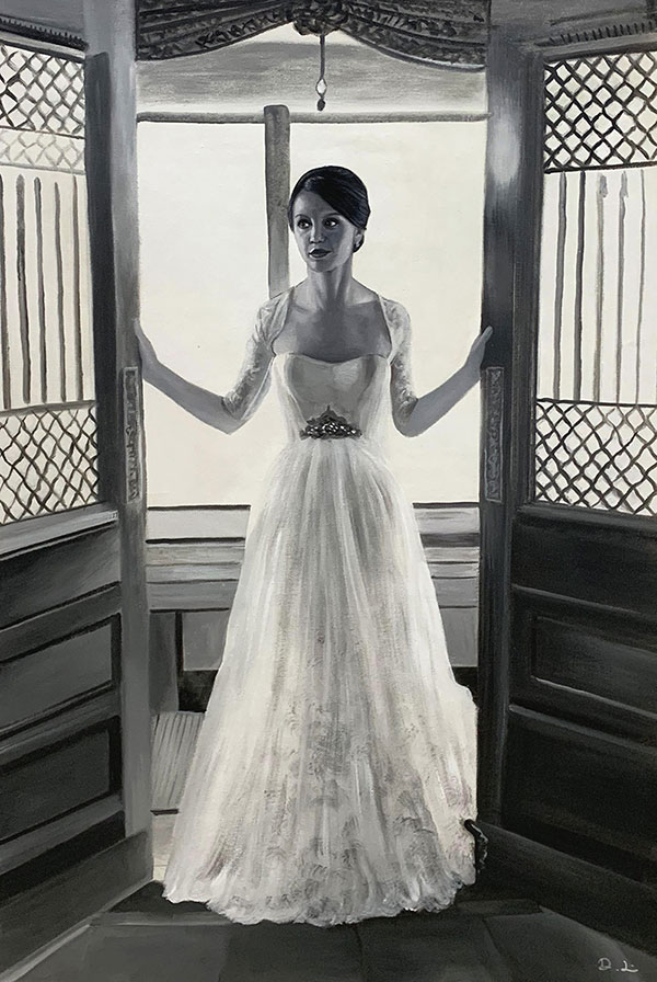 Stunning oil painting of a bride