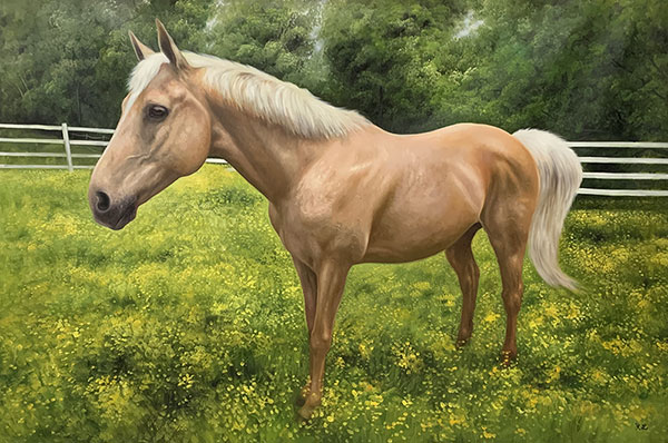 Stunning hand drawn oil painting of a horse