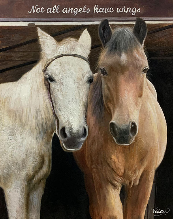 Custom oil painting of two horses
