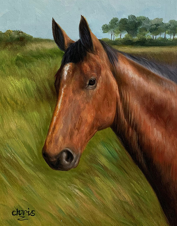 Close up oil painting of a horse