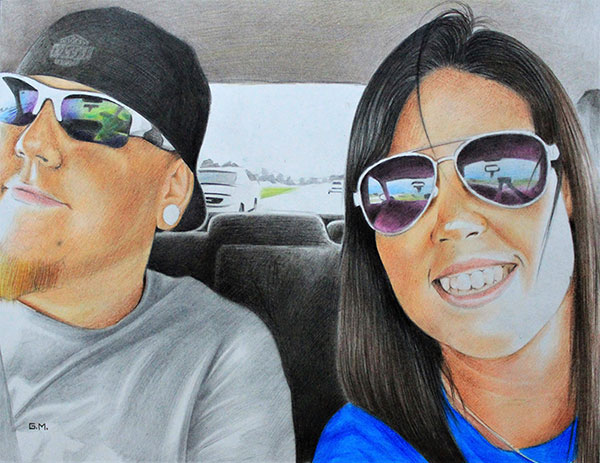 Beautiful color pencil painting of a couple