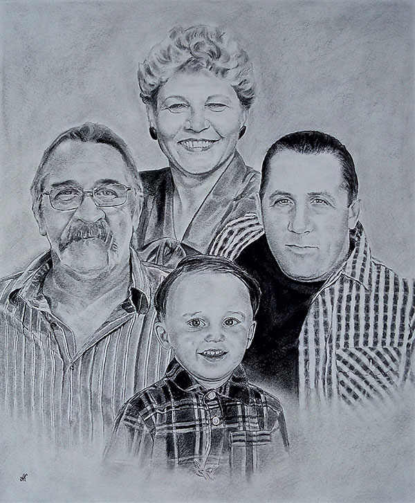 customized charcoal drawing of a family