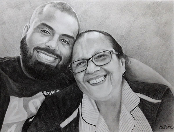 Custom black pencil painting of a mother and  a son