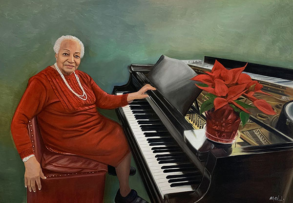 Gorgeous oil painting of a woman playing a piano