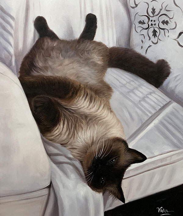Beautiful oil painting of a cat